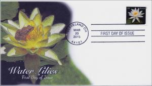 2015, Water Lilies, White, frog, Cleveland OH, FDC, BW Cancel, 15-038