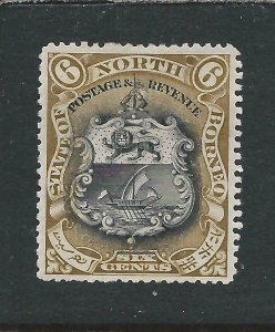 NORTH BORNEO 1897-1902 6c BLACK & BISTRE-BROWN PERF 14½-15 MM SG 101a CAT £55