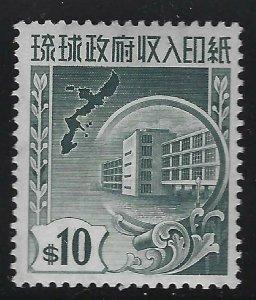 Ryukyu Islands 1959 $10 Revenue Sc# R28 NH