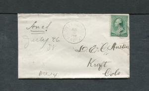 Postal History - Cottage Grove IN 1888 Black Target Cancel Cover #213 B0417