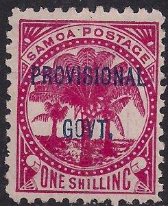 Samoa 1899 QV 1/-d Rose Carmine Ovpt Prov Govt MM SG 96 ( L298 )