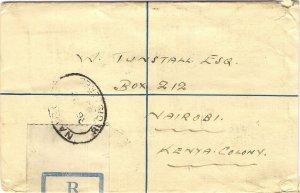 1932 South Africa 4d Registered Postal Stationery Envelope CAPETOWN to NAIROBI