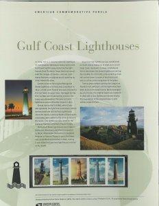 USPS COMMEMORATIVE PANEL #838 GULF COAST LIGHTHOUSES #4409-4413