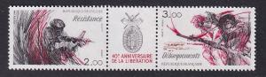 France  #1929-1930a   MNH  1984 Pair  liberation . resistance fighter  soldiers