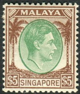 SINGAPORE-1948 $5 Green & Brown Perf 14.  A lightly mounted mint example Sg 15