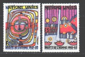 UN Geneva. 1983. 117-18. Human Rights Painting. MNH.