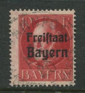 Bavaria -Scott 196 - Bavarian Overprint -1919-20 - Used -10pf Stamp