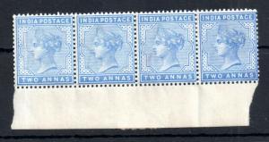 India 1882 QV 2A blue mint LHM/MNH strip WS13970