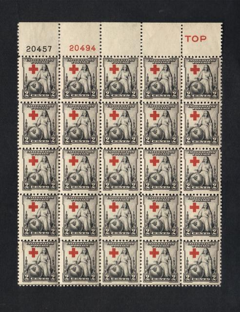 US Scott #702 Plate Block Of (25) Red Cross Issue Lt.Hinge on (5) only,Mint.OG