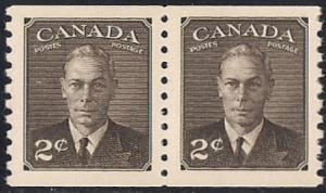 Canada #298 2 cent King George 6 Coil Pair Stamp mint OG NH XF