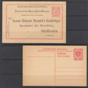 Austria Mi P82I, P244 unused 1890 5k & 1922 80h Postal Cards, F-VF