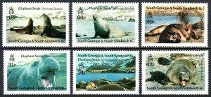 South Georgia 151-156, MNH. Elephant Seals, 1991