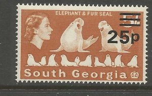 SOUTH GEORGIA 29 MNH, ELEPHANT AND FUR SEAL, SURCHARGED