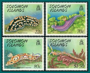 Solomon Islands 1989 Nudibranchs, MNH #639-642,SG648-SG651