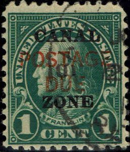 CANAL ZONE #J15 1925 CANAL ZONE OVERPRINT ON U.S. #552 1c REGULAR ISSUE--USED
