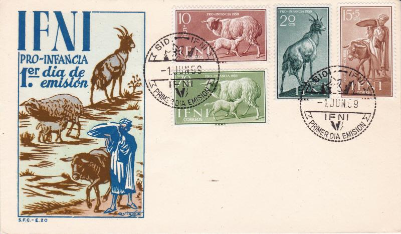 IFNI Spanish Possession 1959 (4) Two Semi-Postal+ Two Regular issues FDC Clean