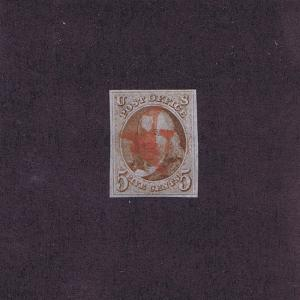 SC#1 USED 5c FRANKLIN, 1847, 2 STRIKES RED ROMAN NUMERAL ~ V ~ 2017 PF CERT LOOK