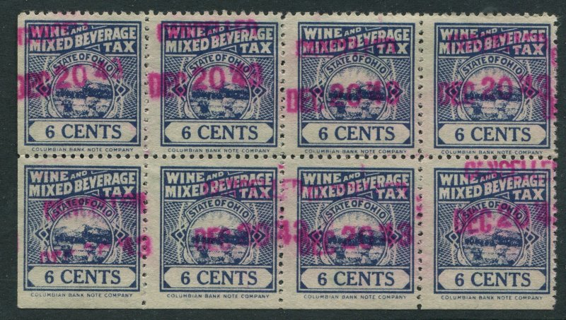 US STAMP REVENUE STATE OF OHIO WINE AND MIXED BEVERAGE TAX 6c Block of 8