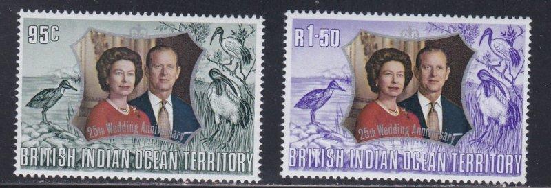 British Indian Ocean Terr. 49-49, Queen Elizabeth's Silver Wedding, NH, 1/2 Cat.