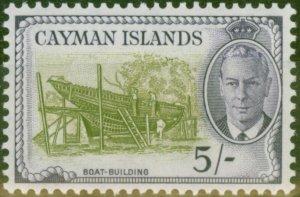 Cayman Islands 1950 5s Olive-Green & Violet SG146 V.F Lightly Mtd Mint
