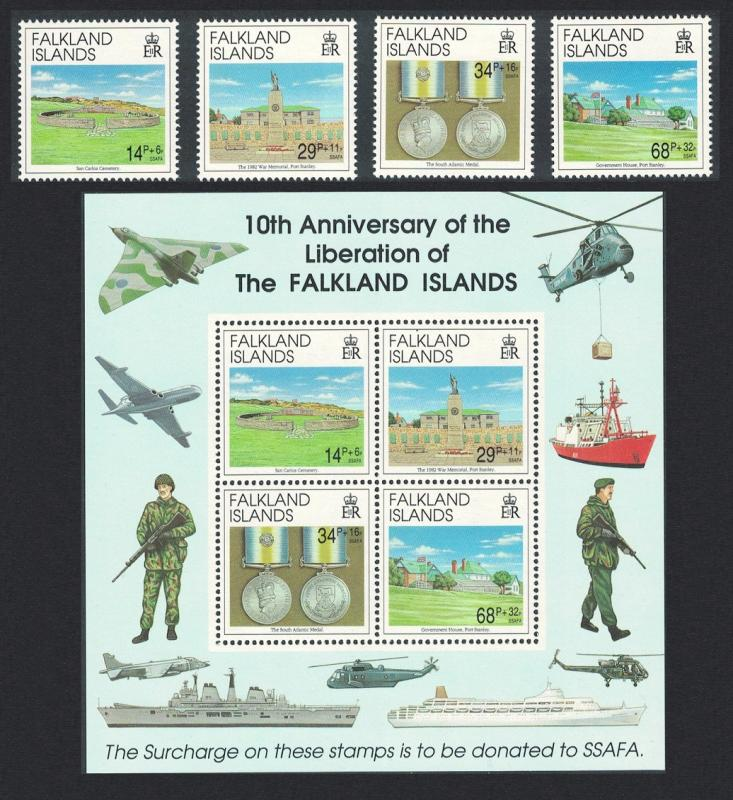 Falkland Is. 10th Anniversary of Liberation 4v+MS SG#656-MS660 SC#B2-B5a