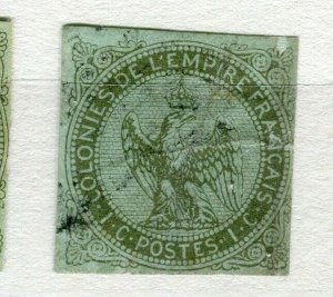 FRENCH COLONIES; 1859 early classic Imperf Eagle issue used 1c. value