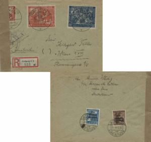 Germany Soviet Zone 30pf+15pf and 50pf+25pf Leipzig Fair Semi-Postal with 10p...
