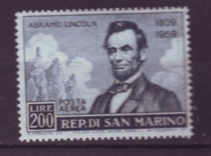 J21978 Jlstamps 1959 san marino set of 1 mh #c108 lincoln