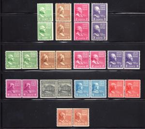839-851 Mint,OG,NH... Line Pairs... SCV $139.90