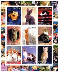 Turkmenistan 2000 Domestic Cats Sheetlet (9) IMPERFORATED MNH