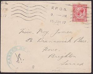 GB SCOTLAND 1917 GV 1d on cover FPOa naval cancel - censor..................6867