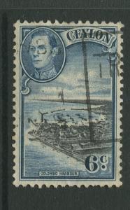 Ceylon #280 Used  1938  Single 6c Stamp