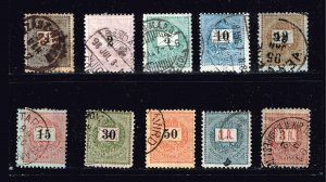 HUNGARY STAMP 1888 -1898 Definitive Issue - Black Values used stamps lot