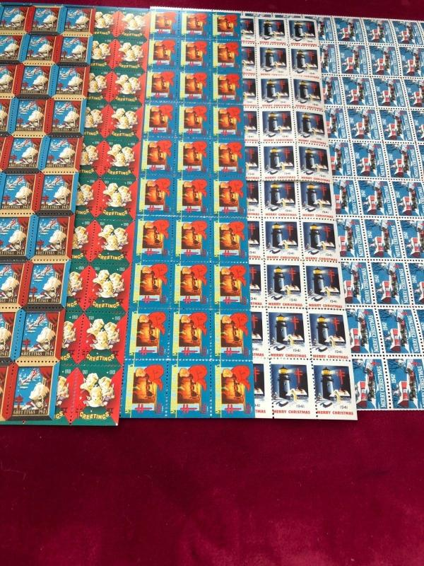 Christmas Seals All Full Sheets.Beautiful Color and Undervalued 38 Different.