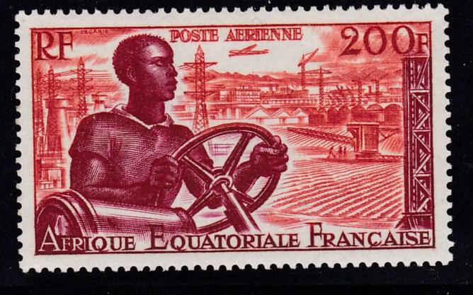France Colony Equatorial Africa 1955 200fr. Mechanization  VF/NH(**)