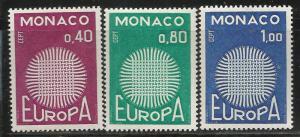 MONACO 768-770, MNH, EUROPA 1970