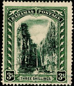 BAHAMAS SG80, 3s black & green, FINE USED. CDS. Cat £55. WMK MULT CA