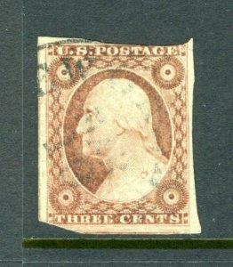 #11A  3 cent Washington of 1851 - PSE CERTIFICATE recut button