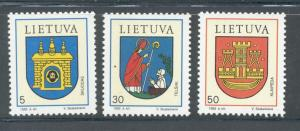 Lithuania Sc 454-6 1993 Coats of Arms stamp set mint NH