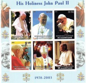 Mauritania 2003 Pope John-Paul II Shlt (6) perf.mnh vf