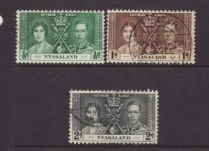 1937 Nyasaland Set F/Used SG127/129
