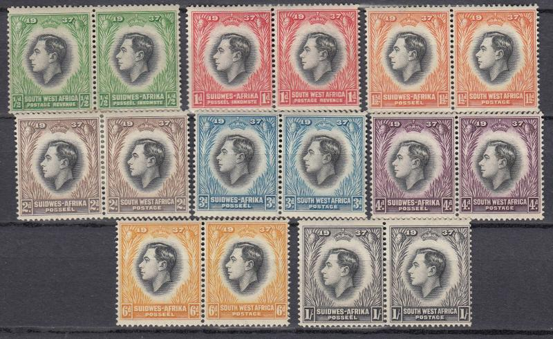 South West Africa - 1937 KGVI Coronation Sc# 125/132 - MH (948)