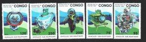 Brazzaville. 1993. 1371-75. Underwater vehicles, divers. MVLH.