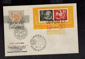 1950 Leipzig DDR East Germany Imperf Souvenir Sheet Cover # B21a