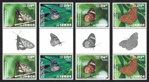 Samoa Butterflies Express Mail 4v Gutter Pairs Face Value £90+ CV£197.50