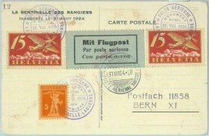 85372 - SWITZERLAND - POSTAL HISTORY - SPECIAL Flight POSTCARD: La Caquerelle