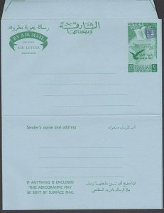 SHARJAH 1967 20np aerogramme, Monarch obliterated with bars unused..........M953