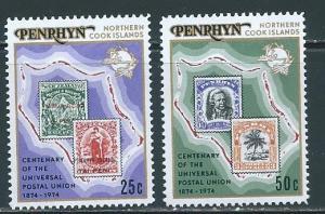 Penrhyn Island 64-65 100th UPU set MNH