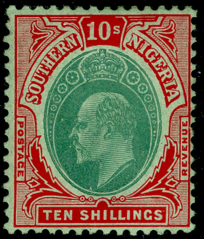 SOUTHERN NIGERIA SG43, 10s green & red/green, LH MINT. Cat £100.