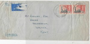 gold coast 1946 people working air mail stamps cover ref 20693
